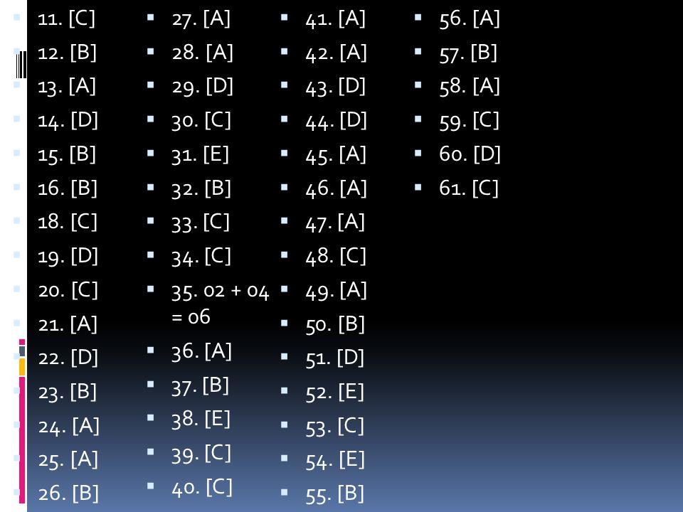 11. [C] 27. [A] 41. [A] 56. [A] 12. [B] 28. [A] 42. [A] 57. [B] 13. [A] 29. [D] 43. [D]